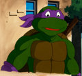 Animation Art:Production Cel, Teenage Mutant Ninja Turtles Donatello Production Cel Setupand Master Painted Background (Murakami-Wolf-Swenson, c. 1...