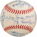 Baseball Collectibles:Balls, New York Yankees Greats Multi-Signed Baseball (18 Signatures)....