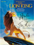 Music Memorabilia:Autographs and Signed Items, Elton John and Tim Rice Signed The Lion King Songbook (Disney/Hal Leonard, 1994)....