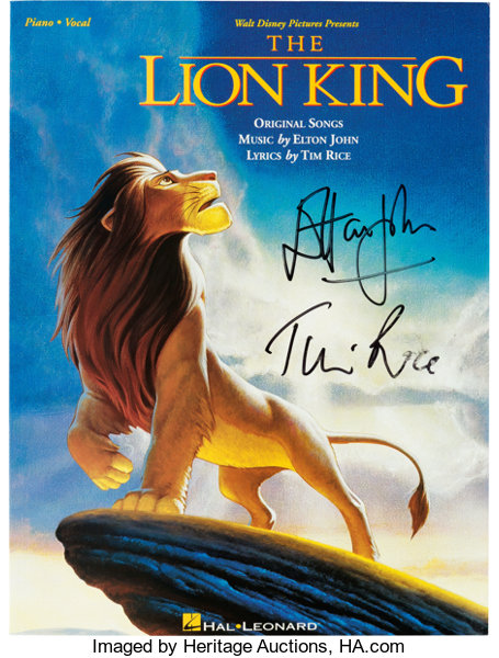 Elton John and Tim Rice Signed The Lion King Songbook (Disney/Hal