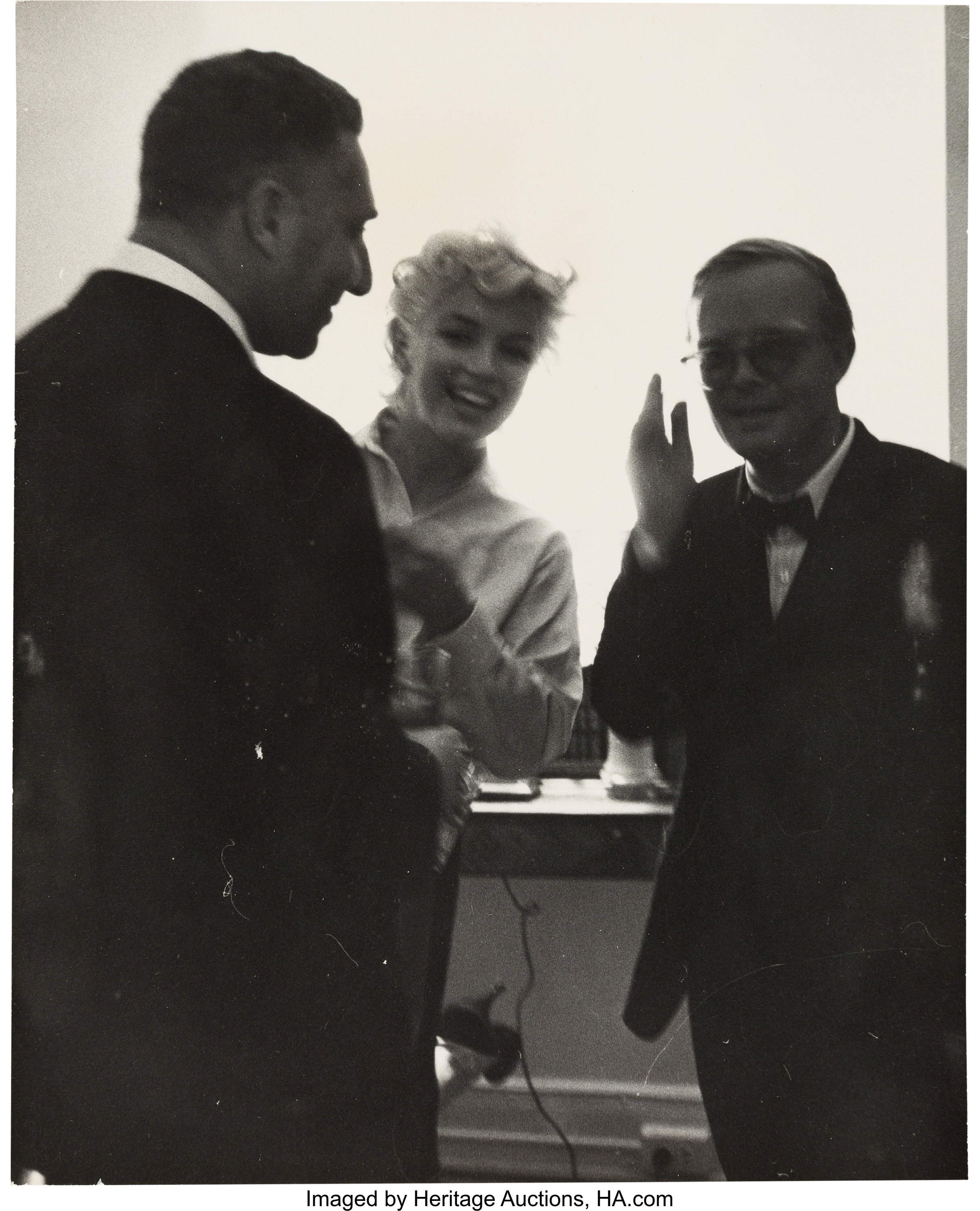 A marilyn monroe and truman capote rare black and white photograph