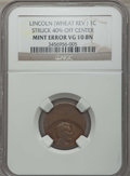 Errors, No Date 1C Lincoln Cent, Wheat Reverse -- Struck 40% Off Center -- VG10 NGC. This lot will also include the following; 19... (Total: 3 coins)