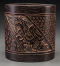 Pre-Columbian:Ceramics, A Maya Carved Blackware Cylinder. c. 600 - 800 AD...