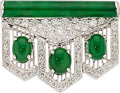 Estate Jewelry:Brooches - Pins, Jadiete Jade, Diamond, White Gold Brooch. ...