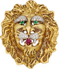 Estate Jewelry:Brooches - Pins, Diamond, Multi-Stone, Gold Pendant-Brooch, Hammerman Bros. . ...