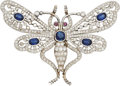 Estate Jewelry:Brooches - Pins, Sapphire, Diamond, Ruby, Platinum Pendant-Brooch. ...