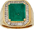 Estate Jewelry:Rings, Gentleman's Emerald, Diamond, Gold Ring. ... (Total: 0 Items)