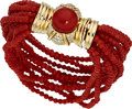 Estate Jewelry:Bracelets, Coral, Diamond, Gold Bracelet. ...