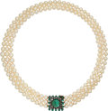 Estate Jewelry:Necklaces, Cultured Pearl, Emerald, Diamond, Gold Necklace, French. ...