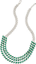 Estate Jewelry:Necklaces, Emerald, Diamond, White Gold Necklace. ...