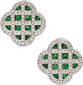 Estate Jewelry:Earrings, Diamond, Tsavorite Garnet, White Gold Earrings. ...