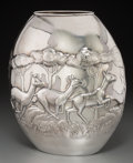 Silver Holloware, Continental, A Fratelli Cacchione Italian Silver Vase with African SavannaMotif, 20th century. Marks: STERLING, ITALY, 925, F.C,(st...