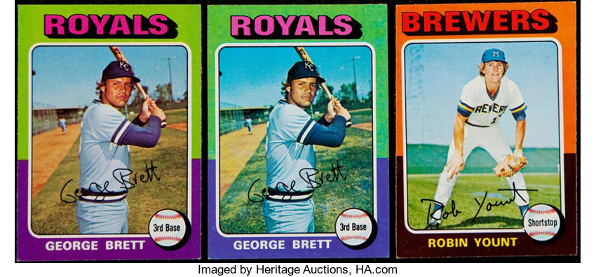 1975 Topps George Brett And Robin Yount Rookie Trio 3
