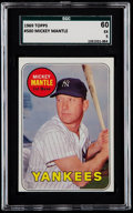 Baseball Cards:Singles (1960-1969), 1969 Topps Mickey Mantle (Yellow) #500 SGC 60 EX 5....