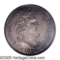 """1859 P50C Half Dollar, Judd-237, Pollock-293, R.4, PR63 PCGS. A """"French Head"""" bust of Liberty faces right, dra..."""