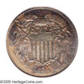 1863 2C Two Cents, Judd-312, Pollock-377, R.4, PR63 Brown PCGS. Similar to the adopted two cent piece of the following y...