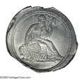 1838 10C J-A1838-1, P-3049, R.8. MS63 PCGS. Die trial for the Liberty Seated Dime, from an unfinished die with a single...