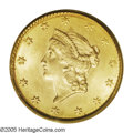 Gold Dollars: , 1849 G$1 No L MS64 PCGS. Well detailed, with a consistent mediumgold color that merges with deeper copper-gold at the peri...