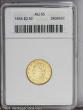 Classic Quarter Eagles: , 1835 $2 1/2 AU53 ANACS. McCloskey-1, R.2. From the same reverse die as the common 1834 Large Head variety, with AM widely s...