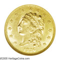 Classic Quarter Eagles: , 1836 $2 1/2 Block 8 MS60 NGC. McCloskey-C Head of 1837, Breen-6144, R.2. A slightly subdued yellow-golden example with ampl...