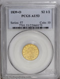 Classic Quarter Eagles: , 1839-O $2 1/2 AU53 PCGS. Distant Fraction. Bright greenish-yellow gold surfaces with traces of luster. Minor abrasions are ...