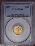 Liberty Quarter Eagles: , 1879 $2 1/2 MS64 PCGS. A pinpoint-sharp near-Gem with apricot colorand attractive surfaces. The 1879 began a 23 year run o...