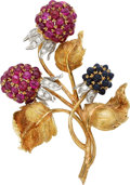 Estate Jewelry:Brooches - Pins, Ruby, Sapphire, Diamond, Gold Brooch. ...
