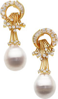 Estate Jewelry:Earrings, South Sea Cultured Pearl, Diamond, Gold Earrings . ...