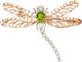Estate Jewelry:Brooches - Pins, Diamond, Peridot, Rock Crystal Quartz, Platinum, Gold Pendant-Brooch. ...