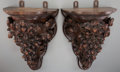 Decorative Arts, Continental:Other , A Pair of Black Forest Carved Oak Wall Brackets, late 19th-early20th century. 15-1/4 inches high x 11-1/8 inches wide (38.7...(Total: 2 Items)