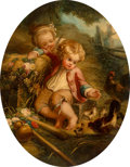 Fine Art - Painting, European:Antique  (Pre 1900), Manner of J. Wright (British, 19th Century). Boys with Bubbles;Children Feeding Chickens (two works). Oil on canvas, ea...(Total: 2 Items)