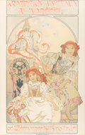 Fine Art - Work on Paper:Print, Alphonse Mucha (Czechoslovakian, 1860-1939). Krajinská výstava vIvancicích, 1912. Lithograph in colors. 35-3/4 x 22-3/4...