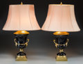 Decorative Arts, French:Lamps & Lighting, A Pair of French Empire-Style Gilt Bronze and Amethyst Glass TableLamps, 20th century. 24 inches high (61.0 cm). PROPERTY... (Total:2 Items)