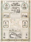 Fine Art - Work on Paper:Print, Ensign & Thayer (American, 19th Century). Seat of War Battles with Map of the Seat of War, 1847. Wood engraving on p...