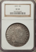 Early Dollars, 1803 $1 Small 3 XF45 NGC. NGC Census: (56/66). PCGS Population:(43/49). Mintage 85,634. ...