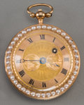 Timepieces:Pocket (pre 1900) , An Exquisite French 18K and Vari-Gold, Enamel, Seed Pearl, Diamondand Ruby Pocket Watch with Ballooning Motif, circa 1790. ...(Total: 2 Items)