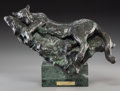 Sculpture, Sherry Salari-Sander (American, b. 1941). Cat on a Ledge, 1984. Bronze. 11-1/4 inches (28.6 cm) high. Ed. 13/25. Inscrib...