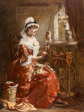 Fine Art - Painting, European:Antique  (Pre 1900), Laslett John Pott (British, 1837-1898). Spinning the Wool,1878. Oil on canvas. 33 x 24 inches (83.8 x 61.0 cm). Signed ...