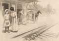 Fine Art - Work on Paper:Drawing, Stockton Mulford (American, 1886-1960). At the Station.Charcoal on board. 20-1/2 x 29 inches (52.1 x 73.7 cm) (sight). ...