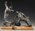 Fine Art - Sculpture, American:Contemporary (1950 to present), Auldwin Thomas Schomberg (American, b. 1943). Hockey .Bronze with brown patina. 18-1/2 inches (47.0 cm) high on a 2inc...