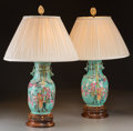 Asian:Chinese, A Pair of Chinese Porcelain Vases Mounted as Lamps, late 19thcentury and later. 30-1/2 inches high (77.5 cm) (overall). ...(Total: 2 Items)