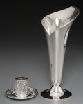 Silver Holloware, American:Vases, A Tiffany & Co. Silver Calla Lily-Form Vase and Repoussé MatchHolder, circa 1873-1965. Marks to vase: TIFFANY & CO.,MAKE... (Total: 2 Items)