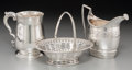 Silver Holloware, British:Holloware, Three English Silver Table Articles: Creamer, Cann, Basket,1758-1821. Marks: (various). 4-1/2 inches high (11.4 cm) (talles...(Total: 3 Items)