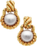 Estate Jewelry:Earrings, Mabe Pearl, Gold Earrings, David Webb. ...
