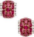 Estate Jewelry:Earrings, Ruby, Diamond, Gold Earrings, Aletto Brothers . ...