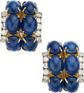 Estate Jewelry:Earrings, Sapphire, Diamond, Gold Earrings, Aletto Bros. . ...