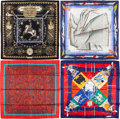 "Luxury Accessories:Accessories, Hermes Set of Four; 90cm Blue, Black & Red Silk Scarves.Excellent Condition. 36"" Width x 36"" Length. 36""Width x ... (Total: 4 Items)"
