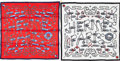 "Luxury Accessories:Accessories, Hermes Set of Two; 70cm Red & White Silk Scarves. ExcellentCondition. 28"" Width x 28"" Length. 28"" Width x 28"" Length. ...(Total: 2 Items)"