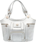 """Luxury Accessories:Bags, Roger Vivier Metallic Silver Leather Tote Bag. Good to Very GoodCondition. 11"""" Width x 8"""" Height x 6"""" Depth. ..."""