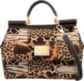 "Luxury Accessories:Bags, Dolce & Gabbana Brown & Black Animal Print Ponyhair Miss Sicily Bag. Excellent Condition. 12.5"" Width x 10"" Height x 6"" De..."
